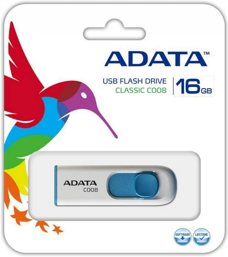 Флешка USB 16Gb A-Data AC008-16G-RWE белый usb flash drive 16gb a data c008 classic white blue ac008 16g rwe