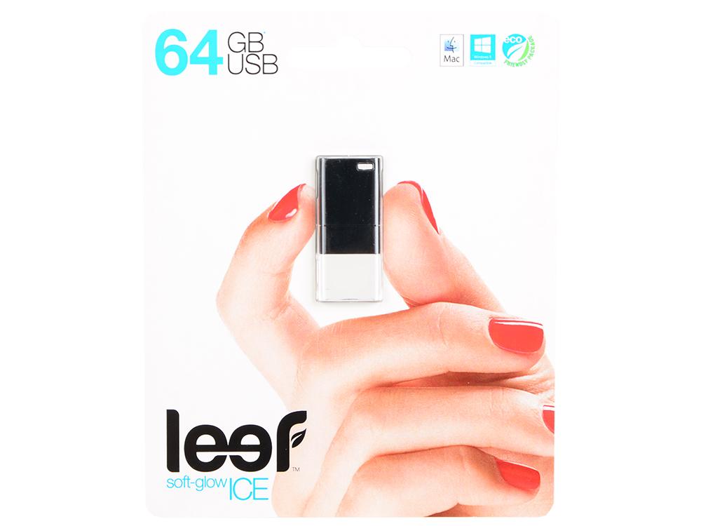 Внешний накопитель 64GB Leef Ice (USB 2.0) (LFICE-064BLR) внешний накопитель 32gb usb drive usb 2 0 leef ice white прозрачный с мягкой подсветкой