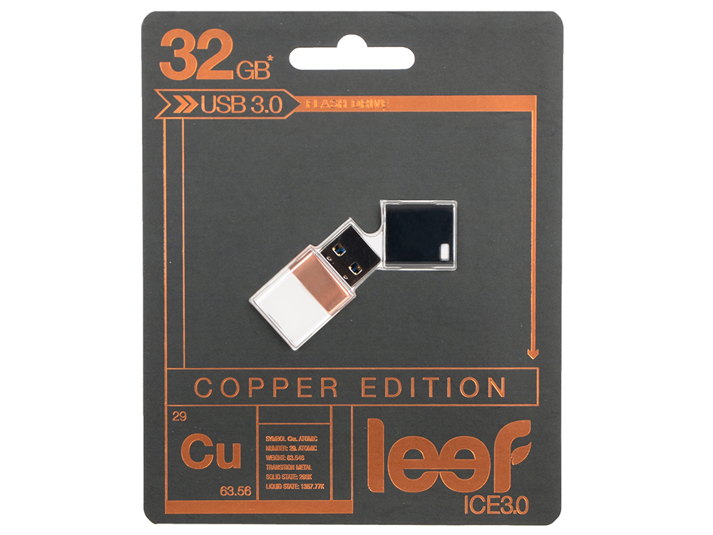 Внешний накопитель 32GB Leef Ice 3.0 (USB 3.0) (LFICE3.0-032COP) leef bridge lfbri 032gkr 32gb usb microusb black