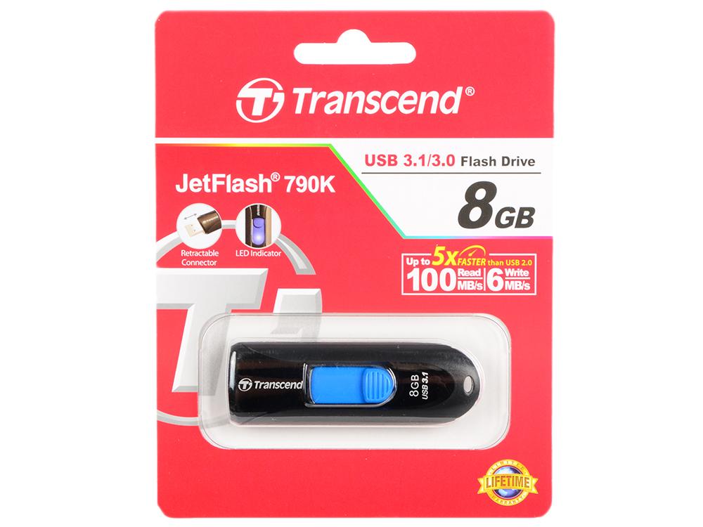 Внешний накопитель 8GB Transcend JetFlash 790 (USB 3.0) (TS8GJF790K) transcend jetflash 300 8gb