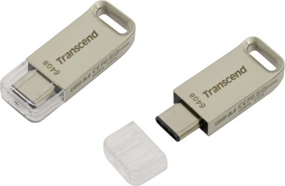 цена на Флешка USB 64Gb Transcend JetFlash 850 OTG TS64GJF850S серебристый USB 3.0/ Type-C