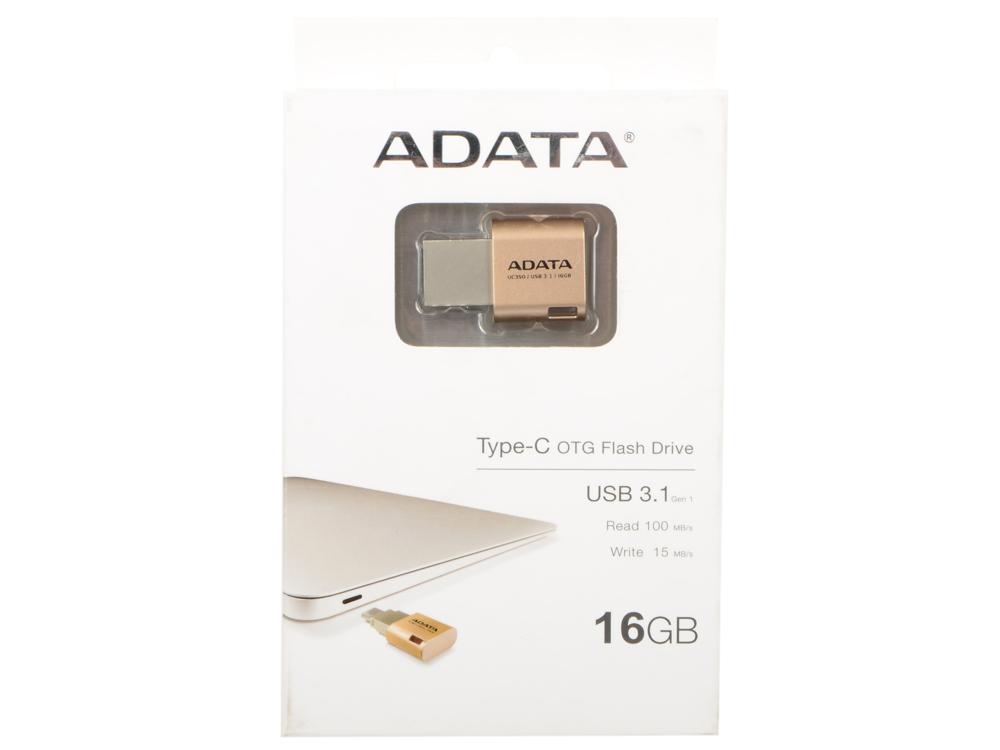 купить USB флешка A-Data UC350 16GB Gold (AUC350-16G-CGD) USB3.1, Type-C / 100 МБ/cек / 15 МБ/cек онлайн