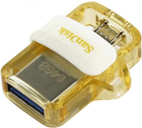 USB флешка SanDisk Ultra Dual 64GB White Gold (SDDD3-064G-G46GW) USB 3.0, microUSB usb накопитель sandisk 32gb ultra android dual drive otg m3 0 usb 3 0 white gold sddd3 032g g46gw