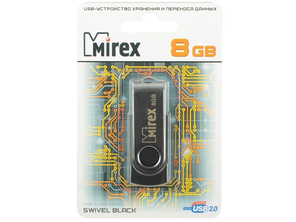 Фото - USB флешка Mirex Swivel 8GB Black (13600-FMURUS08) USB 2.0 8gb флешка диск usb usb 2 0 пластик череп компактный размер