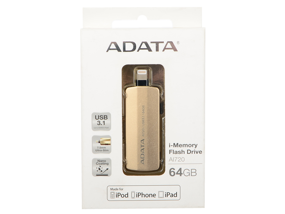 USB флешка A-Data i-Memory AI720 64GB Gold (AAI720-64G-CGD) USB 3.1, Lighning / 90 МБ/cек / 20 МБ/cек usb флешка kingston hx savage 64gb black hxs3 64gb usb 3 1 350 мб cек 180 мб cек
