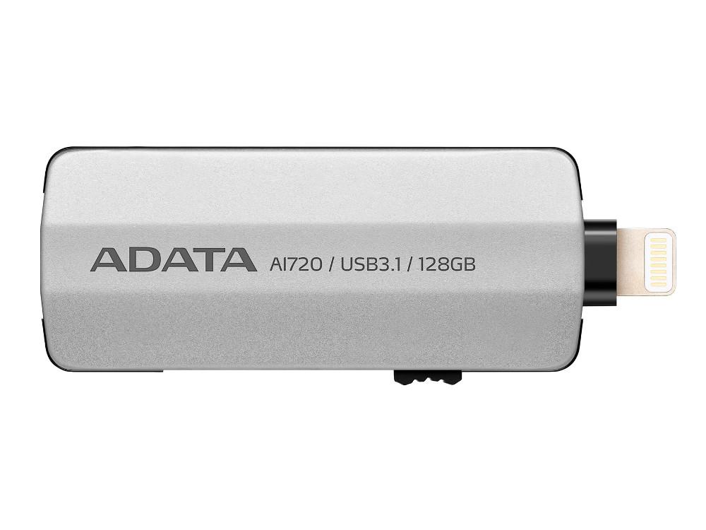 Флешка USB 128Gb A-Data i-Memory AI720 USB 3.1/Lightning AAI720-128G-CGY серый usb накопитель corsair 128gb voyager go cmfvg 128gb черный cmfvg 128gb