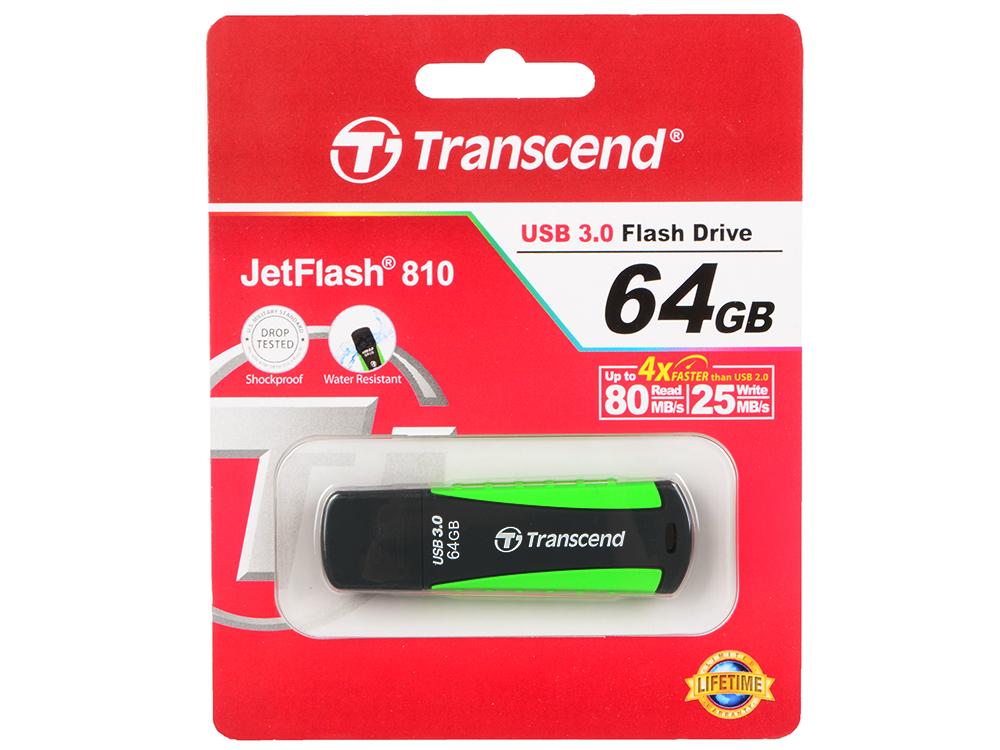 USB флешка Transcend Jetflash 810 64GB Black Green (TS64GJF810) USB 3.0 / 75 МБ/сек / 12 МБ/сек usb флешка transcend 780 8gb ts8gjf780