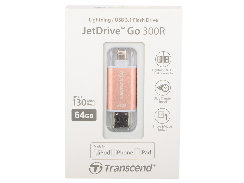 Внешний накопитель 64GB USB Drive (USB 3.1) Transcend JetDrive Go 300 (TS64GJDG300R) внешний накопитель 64gb