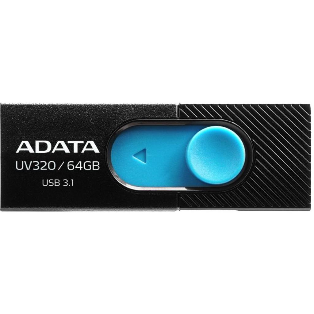 Внешний накопитель 64GB USB Drive A-DATA UV320 черный/голубой (AUV320-64G-RBKBL) USB 3.1 накопитель ssd a data adata ultimate su800 512gb asu800ss 512gt c