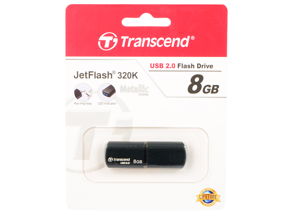 Внешний накопитель 8GB USB Drive Transcend JetFlash 320 черный (TS8GJF320K) USB 2.0 transcend jetflash 730 8gb white usb накопитель
