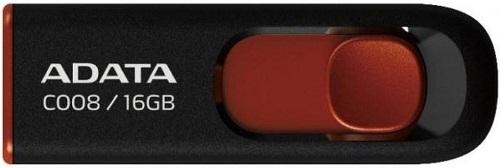 Внешний накопитель 16GB USB Drive ADATA USB 2.0 C008 черно-красная выдвижная AC008-16G-RKD USB 2.0 внешний накопитель 8gb usb drive adata usb 2 0 c008 черно красная выдвижная ac008 8g rkd usb 2 0 15 мб cек 5 мб cек