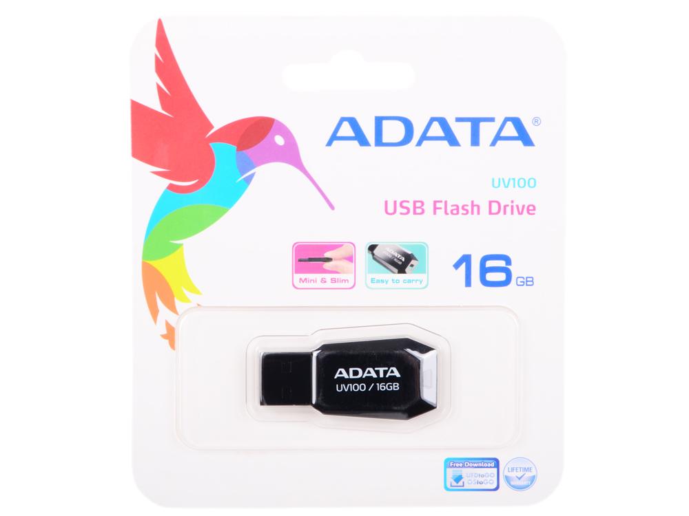 USB флешка A-Data UV100 16GB Black (AUV100-16G-RBK) USB 2.0 / 15 МБ/cек / 5 МБ/cек usb флешка kingston hx savage 64gb black hxs3 64gb usb 3 1 350 мб cек 180 мб cек