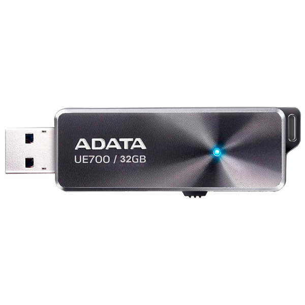 Внешний накопитель 32GB USB Drive ADATA UE700 AUE700-32G-CBK USB 3.1 / 185 МБ/cек / 40 МБ/cек внешний накопитель 8gb usb drive adata usb 2 0 c008 черно красная выдвижная ac008 8g rkd usb 2 0 15 мб cек 5 мб cек