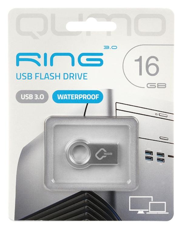 Внешний накопитель 16GB USB Drive  Qumo Ring цвет корпуса металлик (QM16GUD3-Ring) накопитель 16gb team t134 drive green 765441012929 tt13416gg01