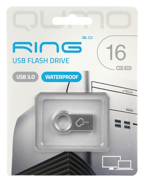 Фото - Внешний накопитель 16GB USB Drive  Qumo Ring цвет корпуса металлик (QM16GUD3-Ring) meike fc 100 for nikon canon fc 100 macro ring flash light nikon d7100 d7000 d5200 d5100 d5000 d3200 d310