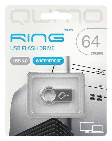 Внешний накопитель 64GB USB Drive <USB 3.0> Qumo Ring цвет корпуса металлик (QM64GUD3-Ring) внешний накопитель 64gb usb drive