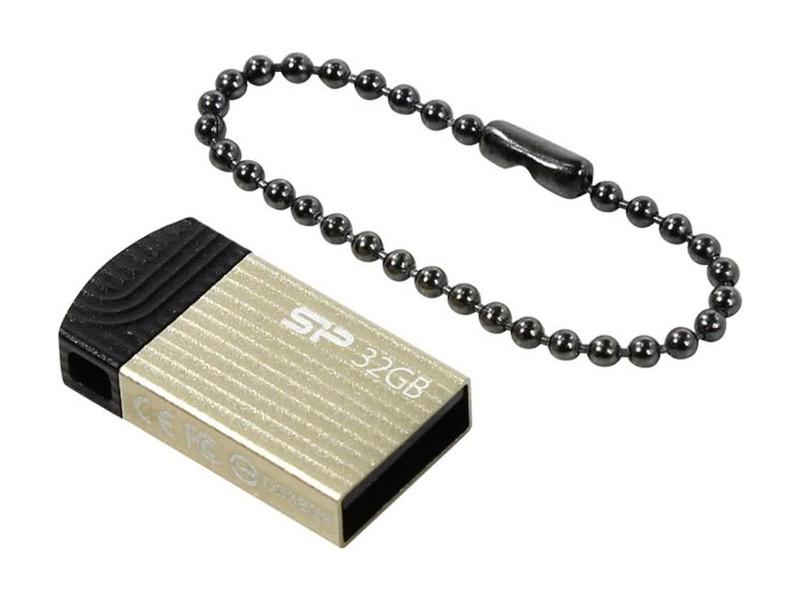 Внешний накопитель 32GB USB Drive  Silicon Power Touch T20 SP032GBUF2T20V1C золотистый 2600mah power bank usb блок батарей 2 0 порты usb литий полимерный аккумулятор внешний аккумулятор для смартфонов светло зеленый