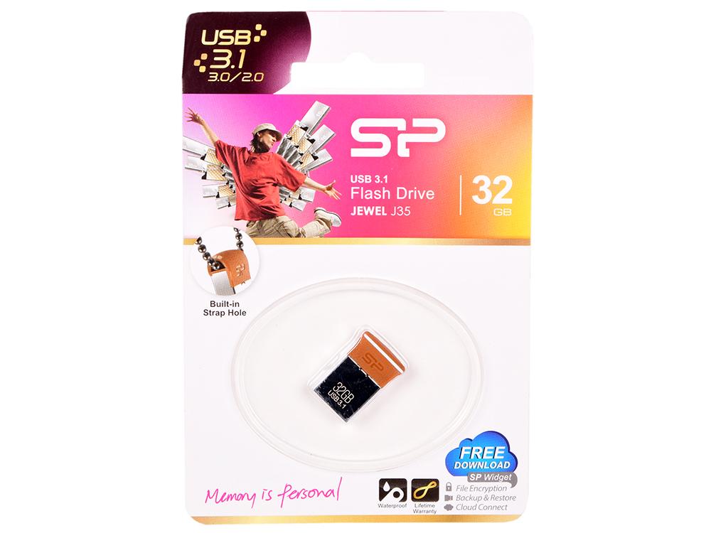 USB флешка Silicon Power J35 32GB Silver Brown (SP032GBUF3J35V1E) USB 3.1 цена и фото