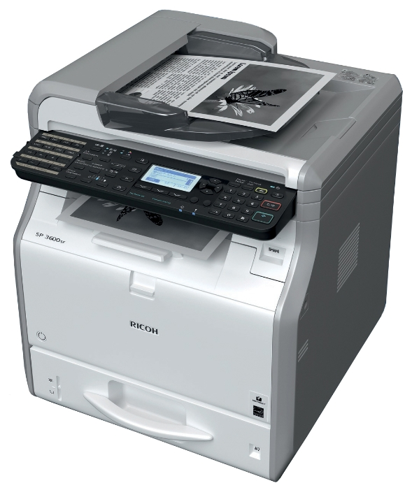 МФУ Ricoh SP 3600SF (копир-принтер-сканер-факс, ADF, 30стр./мин., 1200x1200dpi, 512Mb, A4, LAN, USB) мфу ricoh sp 150suw копир принтер сканер wi fi 22стр мин 600x600dpi a4