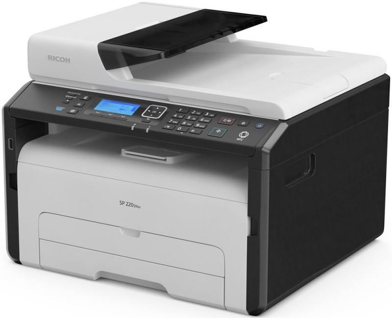 МФУ Ricoh SP 220SNw <картридж 700стр.> (копир-принтер-сканер, ADF, 23стр./мин., 1200x600dpi, LAN, WiFi, NFC, A4)