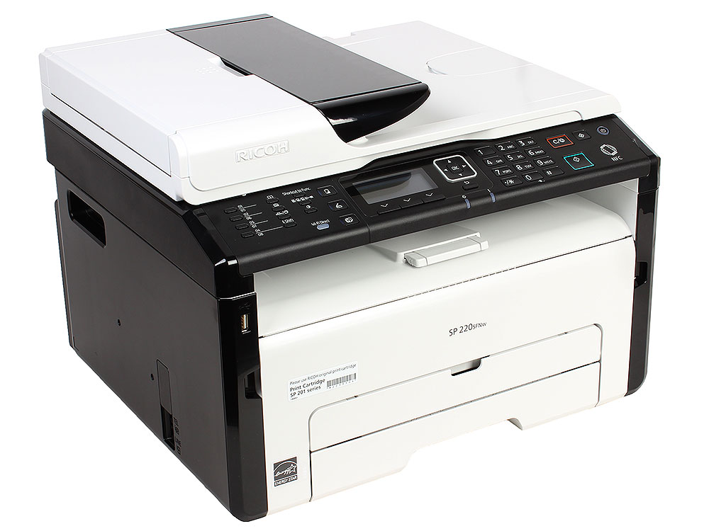 МФУ Ricoh SP 220SFNw <картридж 700стр.> (копир-принтер-сканер-факс, ADF, 23стр./мин., 1200x600dpi, LAN, WiFi, NFC, A4)