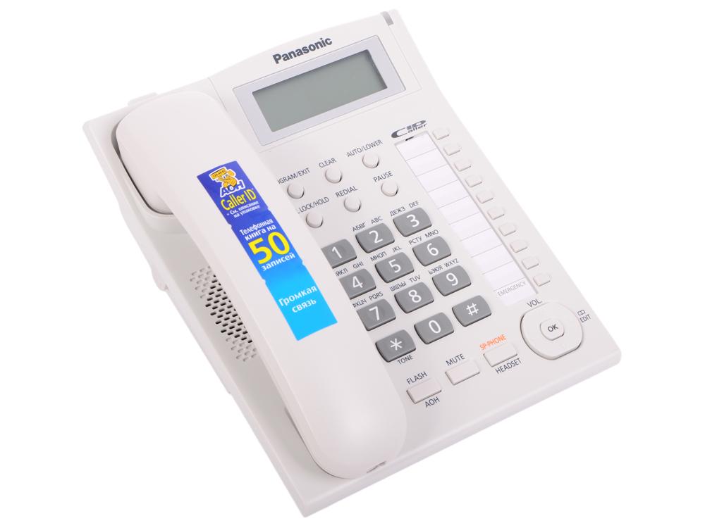 Телефон Panasonic KX-TS2388RUW АОН, Caller ID, ЖК-Дисплей, Flash, Recall, Pause, Память 50, Спикерфон, Wall mt.