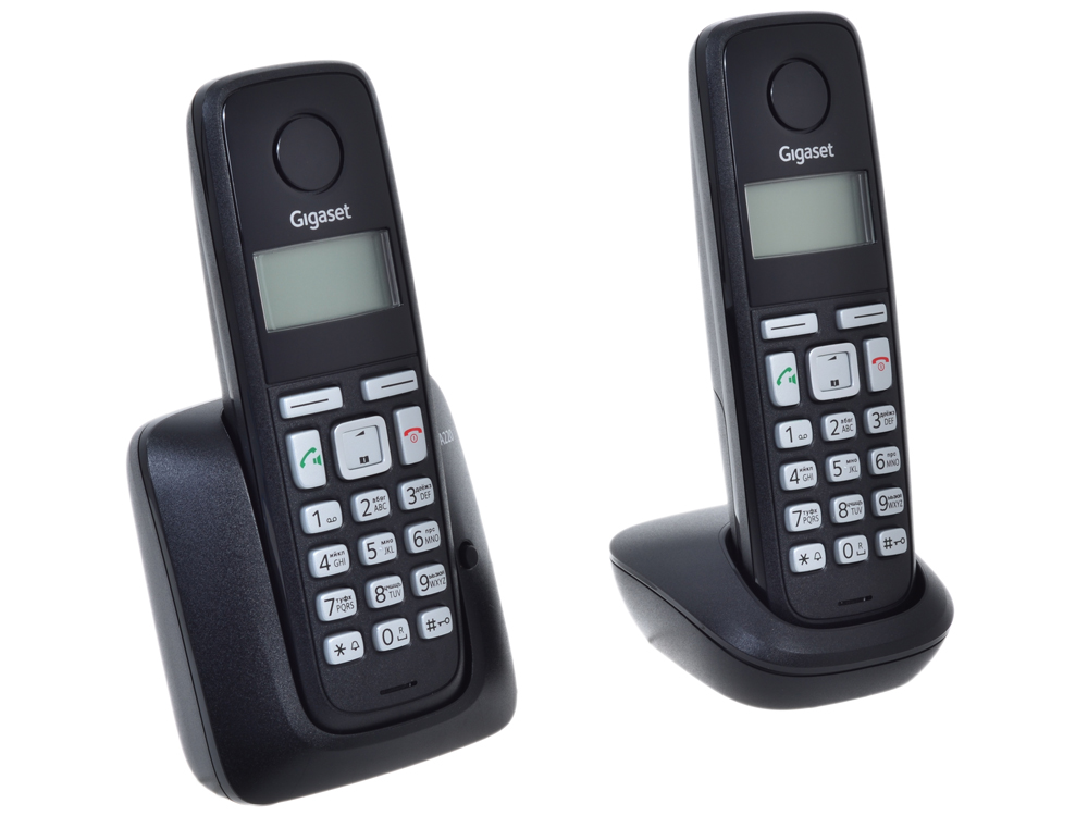 Фото Телефон Gigaset А220 Duo Black (DECT, две трубки) телефон dect gigaset l410 устройство громкой связи