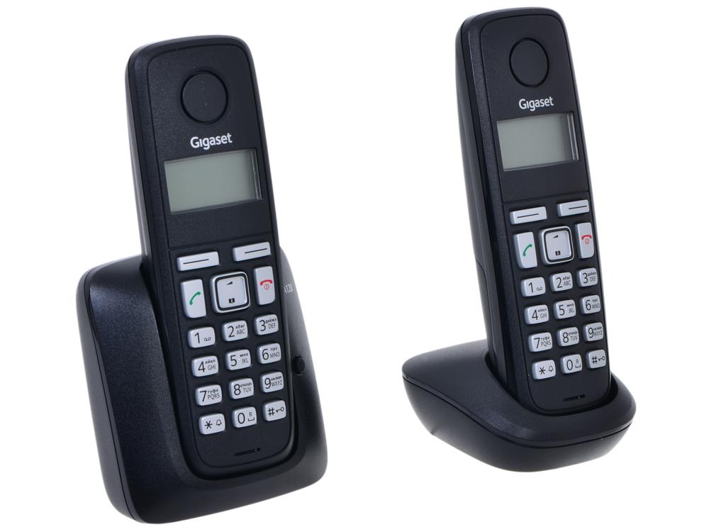 Фото Телефон Gigaset А120 Duo Black (DECT, две трубки) телефон dect gigaset l410 устройство громкой связи