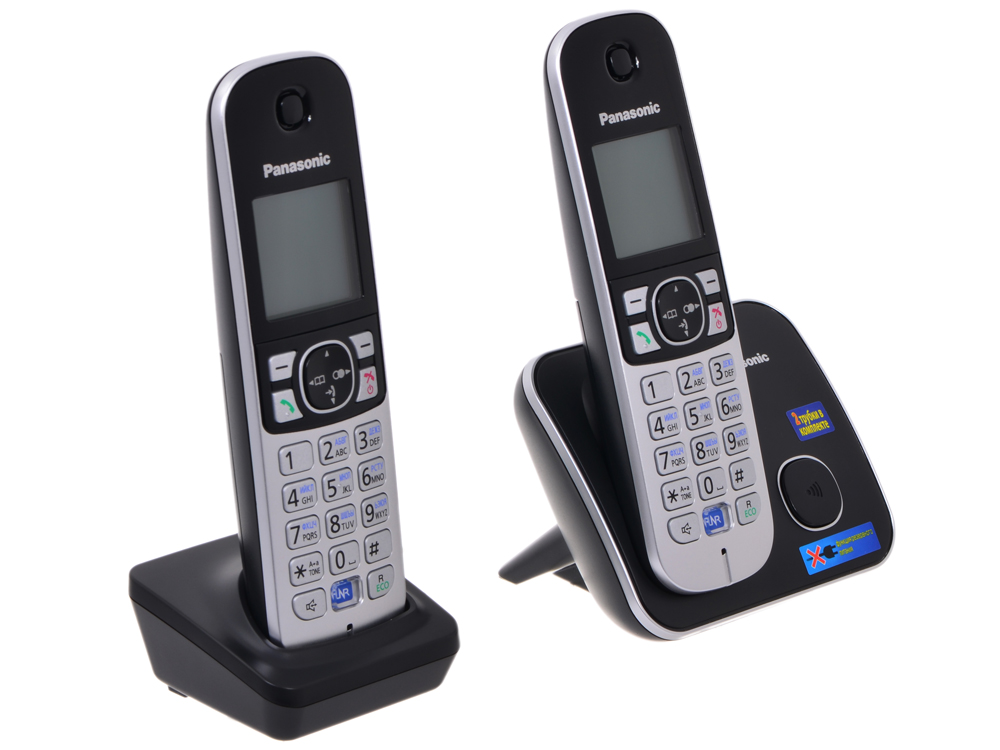 Телефон DECT Panasonic KX-TG6812RUB Функция радио-няня телефон ip dect panasonic kx tpa65ruw sip цифр ip телефон настольный voip ethernet upto 7 hset память 500 звук hd