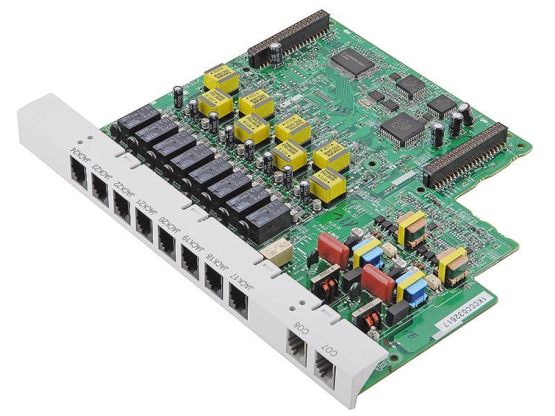Плата дополнительных линий Panasonic KX-TE82480X 8 аналоговых внутренних линий + 2 внешние линии для атс panasonic kx tem824ru аналоговая 6 внешних и 16 внутренних линий предельная ёмкость 8 24 линий