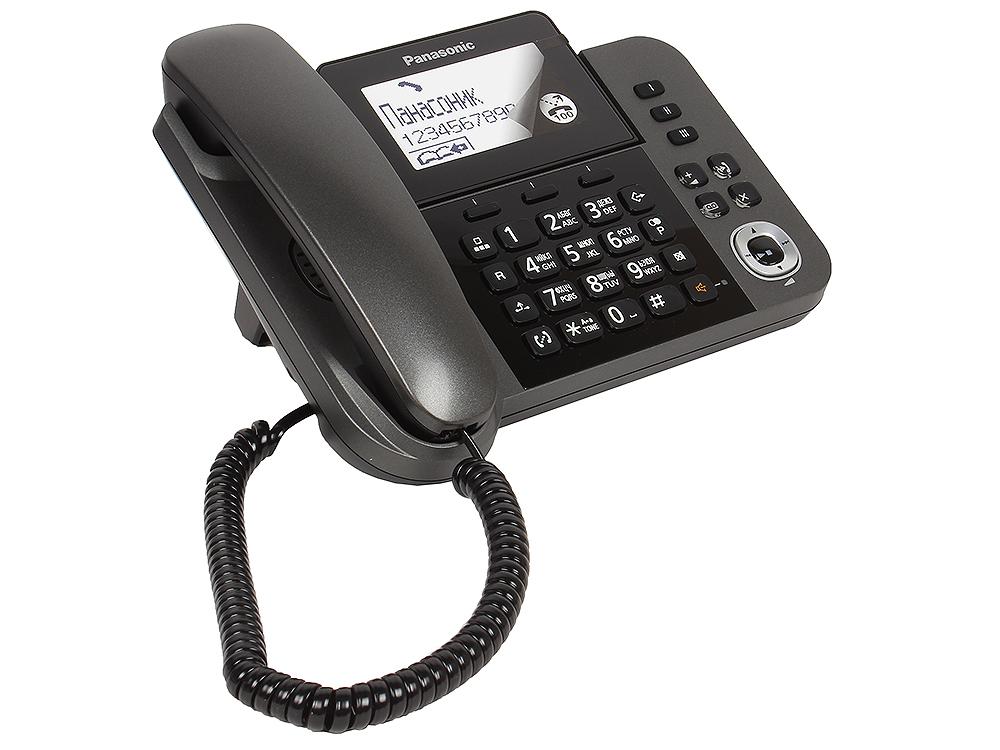 Телефон DECT Panasonic KX-TGF320RUM АОН, Стационар 3,4 + Трубка, Caller ID 50, Эко-режим, Память 100, Black-List, Автоответчик телефон ip dect panasonic kx tpa65ruw sip цифр ip телефон настольный voip ethernet upto 7 hset память 500 звук hd
