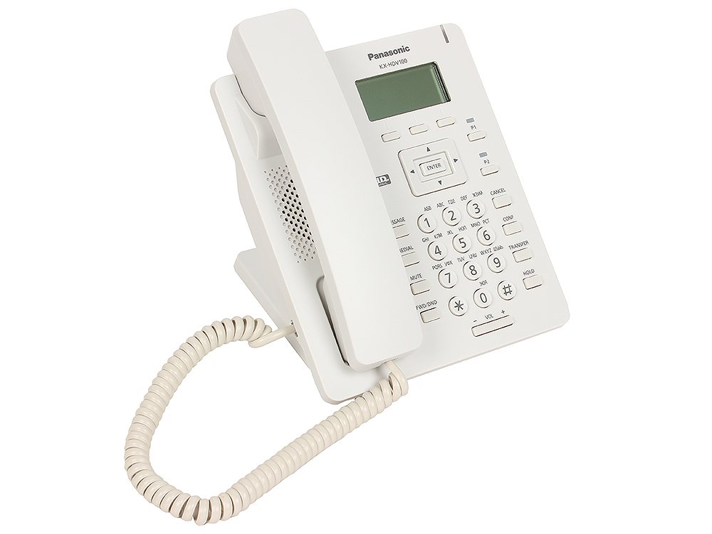 Телефон IP Panasonic KX-HDV100RU SIP Цифр. IP-телефон, VoIP, Ethernet, Память 500, Звук HD телефон ip dect panasonic kx tpa60rub sip трубка цифр ip телефон