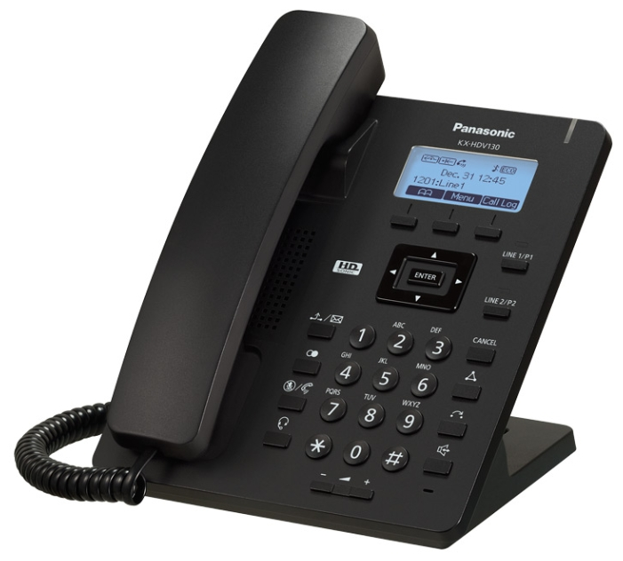 Телефон IP Panasonic KX-HDV130RUB SIP Цифр. IP-телефон, VoIP, Ethernet, UpTo 2 SIP/Ether. Line, Память 500, Звук HD