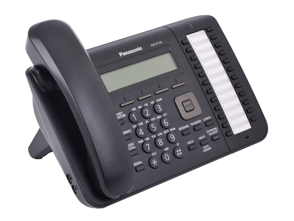 Телефон IP Panasonic KX-UT133RU-B SIP Цифр. IP-телефон, VoIP, Ethernet, UpTo 2 Ether. Line, Память 500, 24 программ. кнопки, Звук HD