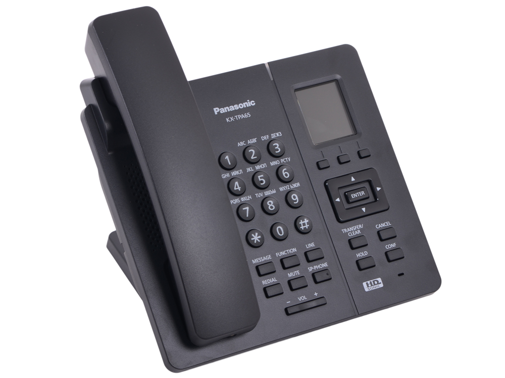 Телефон IP DECT Panasonic KX-TPA65RUB SIP Цифр. IP-телефон (Настольный), VoIP, Ethernet, UpTo 7 HSet, Память 500, Звук HD
