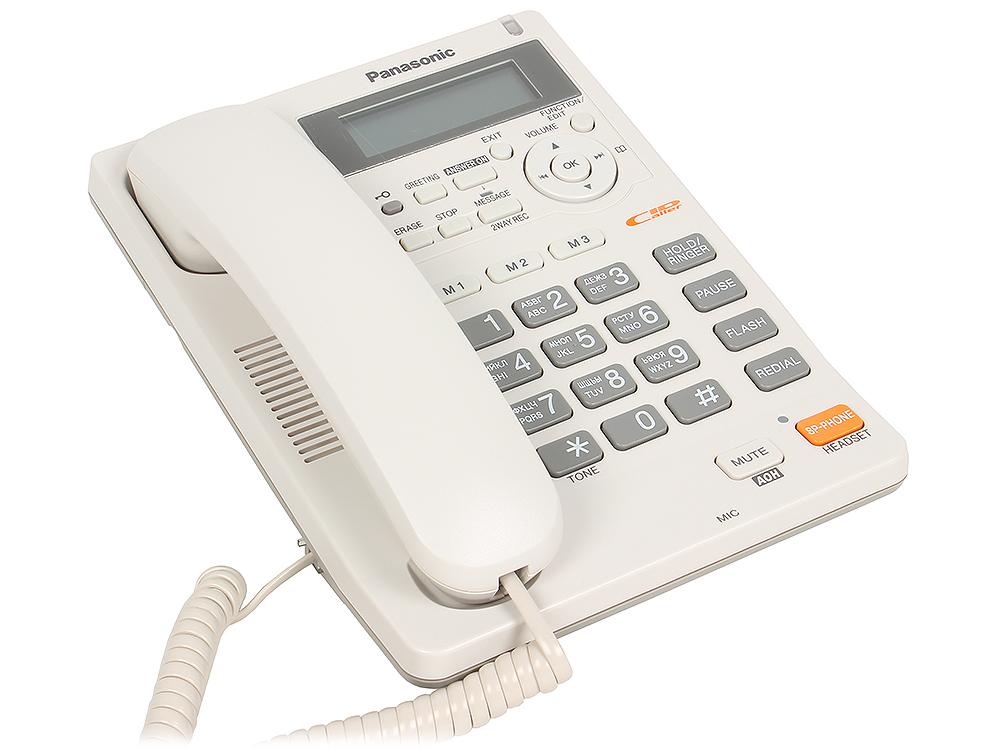 Телефон Panasonic KX-TS2570RUW АОН, Caller ID, ЖК-Дисплей, Flash, Recall, Pause, Память 50, Спикерфон, Автоответчик, Wall mt. радиотелефон dect panasonic kx tg6811rub черный