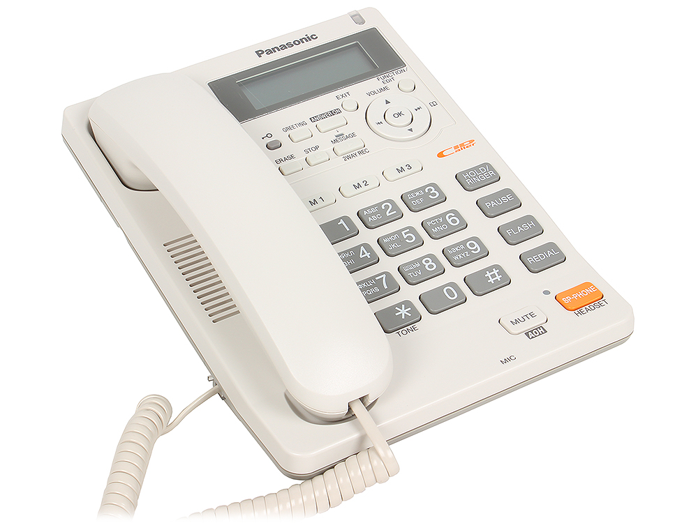 Телефон Panasonic KX-TS2570RUW АОН, Caller ID, ЖК-Дисплей, Flash, Recall, Pause, Память 50, Спикерфон, Автоответчик, Wall mt.
