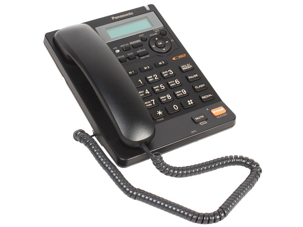 Телефон Panasonic KX-TS2570RUB АОН, Caller ID, ЖК-Дисплей, Flash, Recall, Pause, Память 50, Спикерфон, Автоответчик, Wall mt. телефон alcatel temporis mini champagne flash recall wall mt