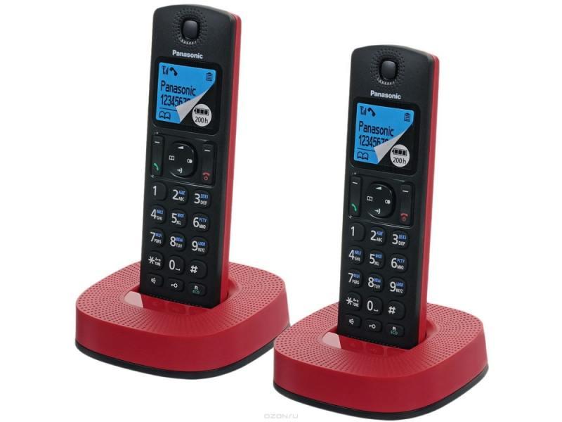 Радиотелефон DECT Panasonic KX-TGC312RUR черно-красный