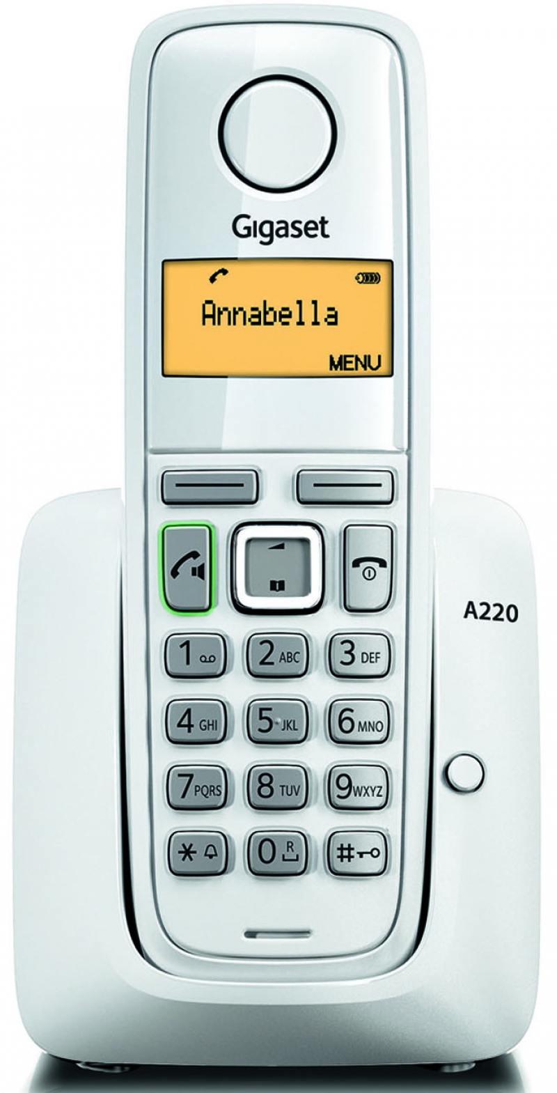 Радиотелефон DECT Gigaset A220 белый радиотелефон siemens gigaset a220a серый s30852 h2431 s303