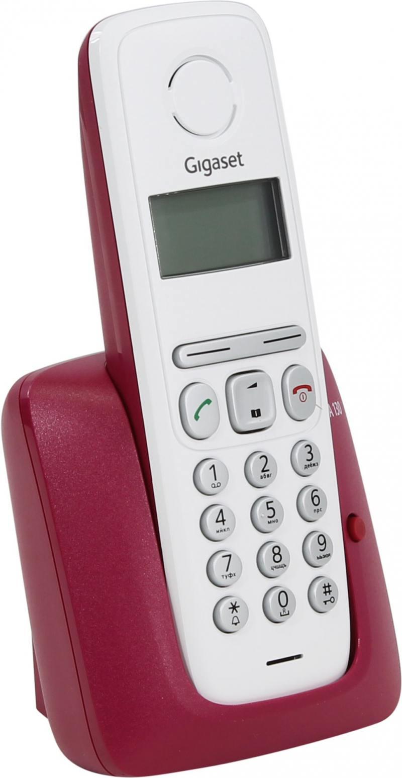 Радиотелефон DECT Gigaset A130 белый-бордовый