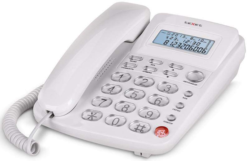 Телефон проводной Texet TX-250 белый колонка texet tpa 3100 black