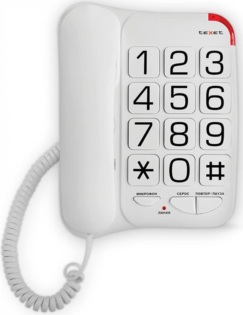 Телефон проводной Texet TX-201 белый колонка texet tpa 3100 black