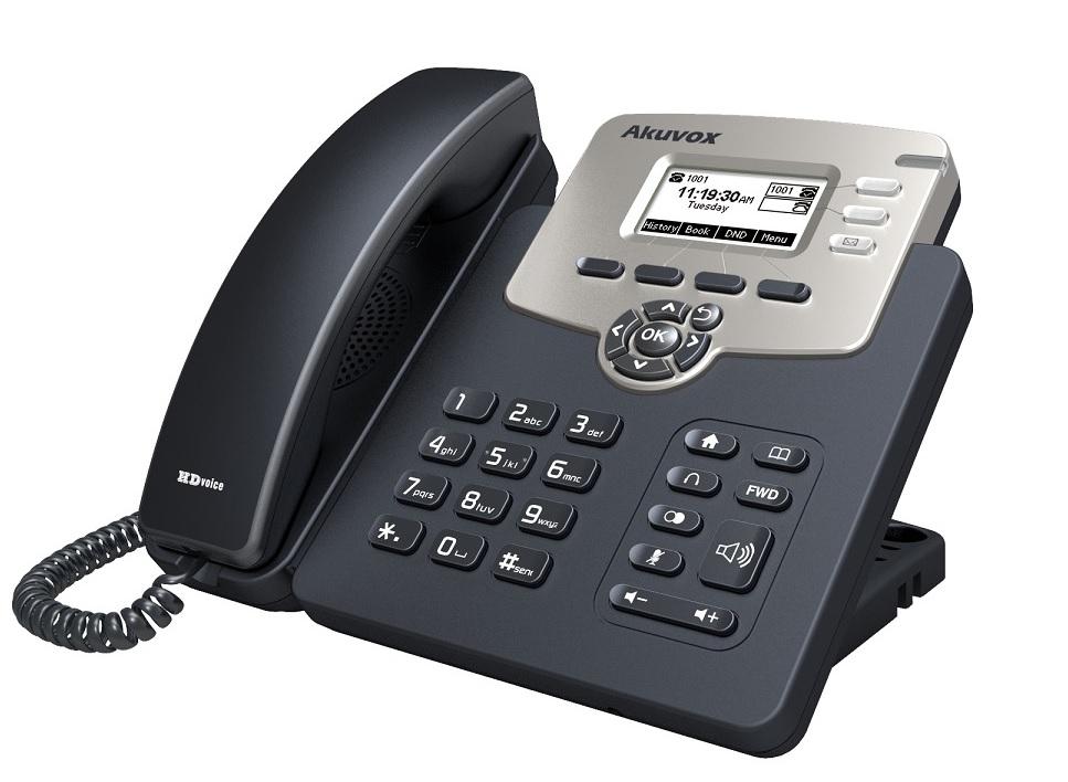 "Телефон IP Akuvox SP-R52P 2 SIP-аккаунта 2x10/100Mbps 2.3"" LCD PoE"