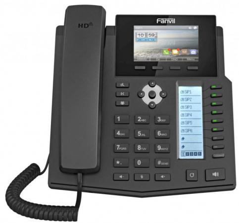 Телефон IP Fanvil X5S 6 линий 2x10/100/1000Mbps LCD SIP PoE черный