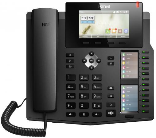 Телефон IP Fanvil X6 6 линий 2x10/100/1000Mbps LCD SIP PoE черный телефон ip yealink sip t42s 12 sip аккаунтов 2x10 100 1000mbps 2 7 lcd poe blf bla