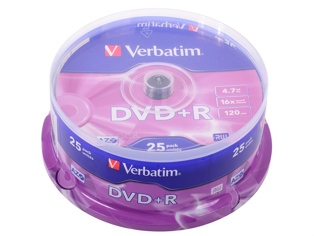 DVD+R Verbatim 4.7Gb 16x 25шт Cake Box dvd r набор дисков tdk dvd r 4 7gb 16x sl 10