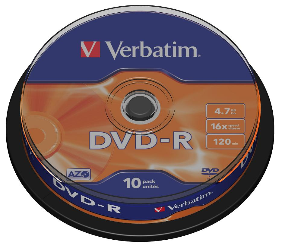 DVD-R Verbatim 4.7Gb 16х 10шт Cake Box dvd r vs 4 7gb 16х 10шт cake box