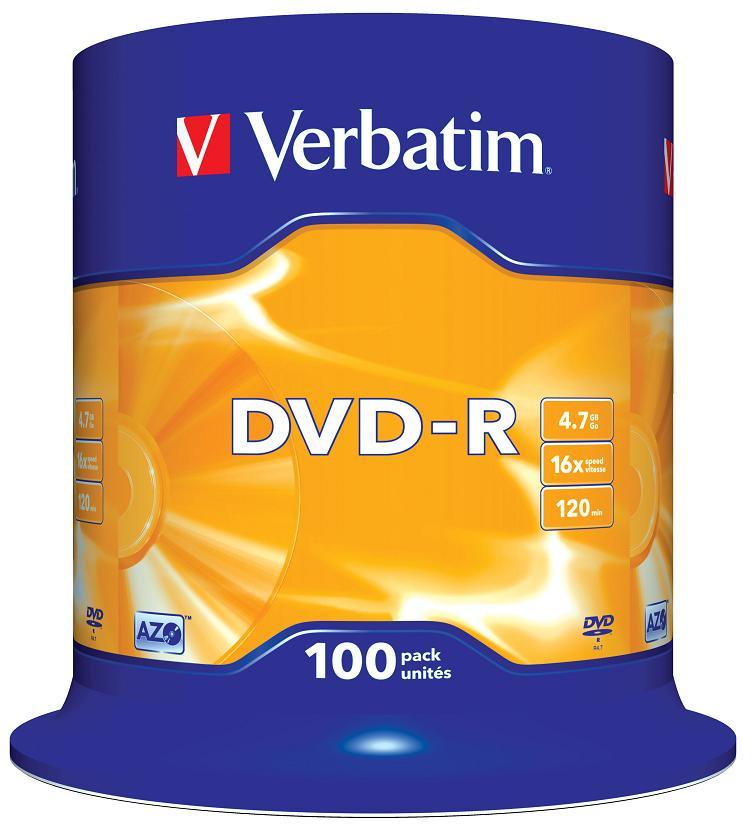 DVD-R Verbatim 4.7Gb 16х 100шт Cake Box инструменты для маникюра и педикюра dewal пилка улыбка черная 180 240