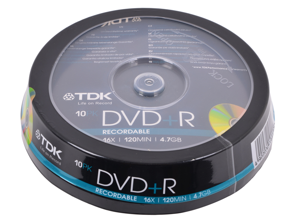 DVD+R TDK 4.7Gb 16x 10шт Cake Box dvd r tdk 4 7gb 16x slim